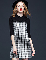 Women's Going out Street chic Sheath Dress,Houndstooth Stand Above Knee ½ Length Sleeve Black Polyester Fall