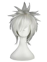 Cosplay Wigs Gintama Gintoki Sakata Silver Short Anime Cosplay Wigs 35 CM Heat Resistant Fiber Male / Female