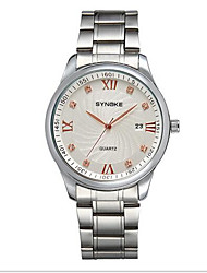 SYNOKE Men's Wrist watch Quartz Japanese Quartz Calendar Casual Watch Stainless Steel Band Silver White Golden