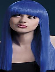 lungo lunghezza parrucche cosplay sintetiche moda colore bule