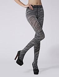 Women's 120D Zebra print velvet pantyhose