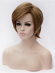 les nouveaux cheveux bruns polyester teint perruque courte d'âge moyen et vieux de 5 pouces