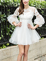 Women's Going out Simple Skater Dress,Solid Round Neck Mini Long Sleeve White Polyester Summer