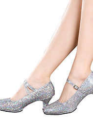 Women's Dance Shoes Latin / Dance Sneakers Sparkling Glitter / Paillette / Synthetic Cuban HeelBlack / Red / Silver /