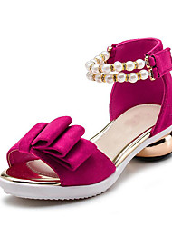Girls' Shoes Wedding / Dress / Casual Fleece Sandals Spring / Summer Heels / Peep Toe Chunky Heel Bowknot / Imitation PearlBlack / Red /
