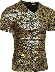 Top Street Wear Skin Friendly European Style Slim Short Sleeve T Shirt Male Gold Leopard T Shirts