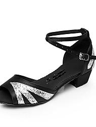 Women's Dance Shoes Satin Satin Latin Sandals Low Heel Beginner / Professional Pink / Red / Silver / Gold Customizable