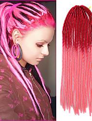 20 polegadas-de-rosa de cabelo de crochê trança macio dreadlock havana mambo torção trança ombre vermelho com agulha de crochê
