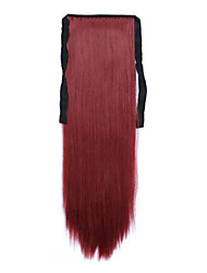 Red Length 60CM Synthetic Bind Type Long Straight Hair Wig Horsetail(Color 118)