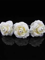 2 PCS Women's Flower Fabirc Pearl Headpiece-Wedding U Shape Hair Pin / Hair Stick Jewelry