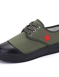Men's Spring Summer Fall Winter Comfort Fabric Casual Flat Heel Lace-up Green Multi-color