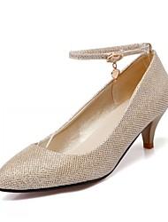 Women's Shoes Leatherette Kitten Heel Heels Heels Office & Career / Dress / Casual Black / Silver / Gold