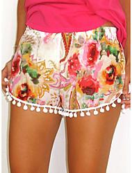 Mulheres Calças Shorts Algodão Sem Elasticidade Mulheres