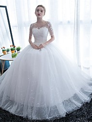 Ball Gown Scoop Neck Floor Length Satin Tulle Wedding Dress with Lace by JUEXIU Bridal