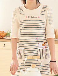 100% Cotton Aprons Kitchen Cooking  with Striped Style 2 Colors (Red  Blue)