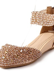 Women's Shoes Leather Wedge Heel Wedges / Round Toe Sandals Wedding / Party & Evening / Dress Almond