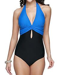 Women's Plus Size Large Size Scarves Bandage Hasp One-pieces Halter Bikinis,Color Block Push-up