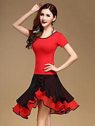 Latin Dance Dress Tops+Skirts Women's Performance Cotton / Tulle / Milk Fiber Ruched 2 Pieces Red Color