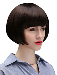 Natural Trendy Inclined Bang Capless Remy Human Hair Hand Tied - Top Wigs for Woman