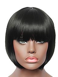 Capless Black Straight BOBO Human  Wig