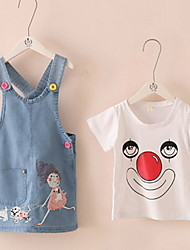 Hot Sale 2016 New Arrival Baby Girls Kids Cat Denim Overalls Dresses Braces 2-7 Yesrs