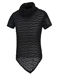 Masculino Camiseta Algodão / Poliéster Cor Solida Manga Curta Casual-Preto