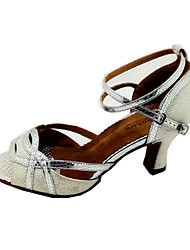 Customizable Women's Dance Shoes Latin Leatherette Flared Heel Silver