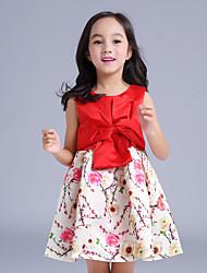Robe Fille de Fleur Polyester Eté Rose / Rouge