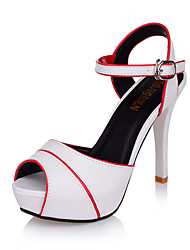 Women's Spring Polyester Party & Evening Stiletto Heel Split Joint White