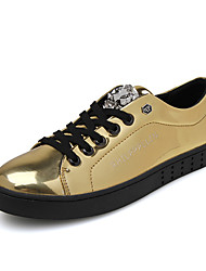 Fashion Trend Men's Bling Bling Patent Leather Skateboarding Shoes in Casual and Free Style for Sports Or Hip-hop