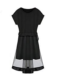 Robe Femme Décontracté / Quotidien Grandes TaillesCouleur Pleine Col Arrondi Midi Manches Courtes Noir Polyester Eté Non Elastique Fin