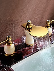 Widespread Two Handles Three Holes in Ti-PVD Bathroom Sink Faucet Deck Mounted