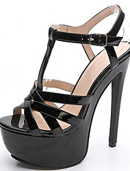 Women's Shoes Leather Stiletto Heel Heels / Platform Sandals Party & Evening / Dress / Casual Black / White / Nude