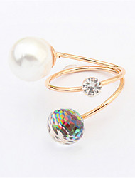 New Simulated Pearl Rings for Women Bijoux Fashion Jewelry Cute Gift Gold Plated Open Design Adjustable