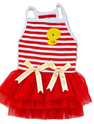 Dog Dress / Clothes/Clothing Red / Pink / Yellow Summer Bowknot / Cartoon