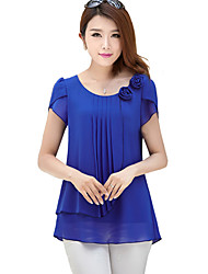 Women's Solid Blue / Red / Green Blouse,Round Neck Short Sleeve