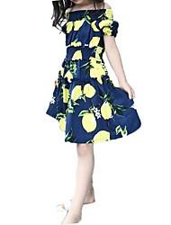 Girl's Blue / White Dress,Floral Polyester Summer