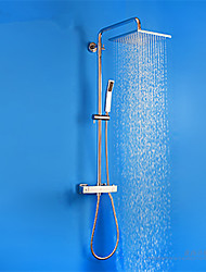 PHASAT Contemporary Chrome Brass Thermostatic Shower Faucet with Air Injection Technology Shower Head