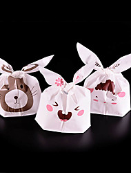 20Pcs Rabbit Cookie Plastic Candy Biscuit Packaging Bag Wedding Gift Brand(Random Color)