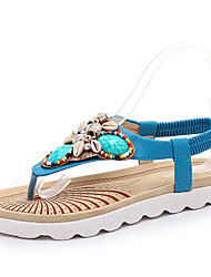 Women's Shoes PU Flat Heel Flip Flops / Ankle Strap Sandals Outdoor / Casual Blue / White