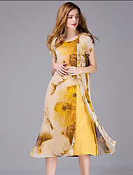 Women's Beach Boho Sheath Dress,Print Round Neck Knee-length Short Sleeve Yellow Silk Summer