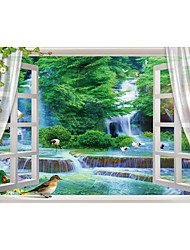 JAMMORY Art Deco Wallpaper Contemporary Wall Covering,Canvas Stereoscopic Large Mural Forest Falls
