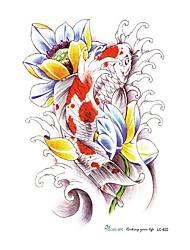 21 * 15см 3d большие конструкции большой эскиз татуировки стикер красной рыбы лотоса рисунок охладиться временные татуировки наклейки
