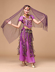Belly Dance Women's Performance Chiffon Pleated / Sequins 4 Pieces Outfits