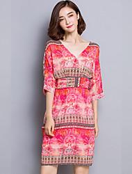 Women's Sexy / Simple Print Sheath Dress,V Neck Above Knee Silk
