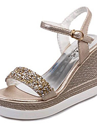 Women's Shoes Leatherette Wedge Heel Wedges Sandals Outdoor / Casual Silver / Gold