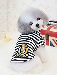 Dog Shirt / T-Shirt Blue / Black / Pink Dog Clothes Summer / Spring/Fall Stripe Cute