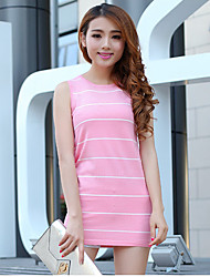 Women's Striped Pink / Yellow / Purple Dress,Sexy / Street chic Sleeveless