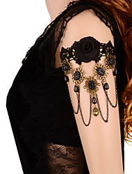Gothic Style Black / White Lace  Flower Anklet Bracelet Armcuffs for Lady Body Jewelry Summer Beach