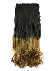 Black and Brown Length 60CM Synthetic Gradient Five Card Hair Long Straight Hair Wig(Color 2T27)